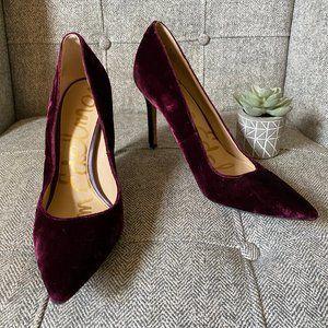 Sam Edelman • Burgundy Crushed Velvet Pumps